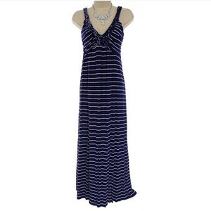 XL X-LARGE NAVY BLUE STRIPED ULTRA-SOFT MAXI DRESS